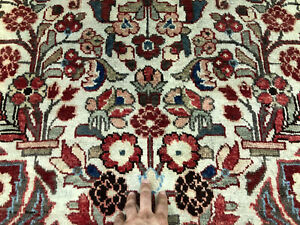 4x7 Antique Persian Rug Muted Lilihan Sarouk Hand Knotted Wool Oriental 3x7 4x8