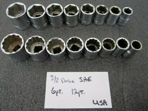Vintage Craftsman 3 8 Drive 6pt 12pt Sae Socket Set 16pc Made In Usa