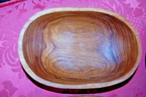 Vintage 4 Oval Carved Teak Wood Bowls Kitchen Salad Spells Wicca Italy Farmhouse