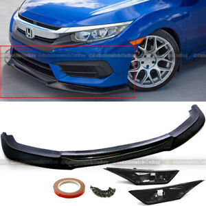 For 16 18 Civic 10th 2 4dr Unpainted Front Bumper Lip W Smoke Side Marker Lamps
