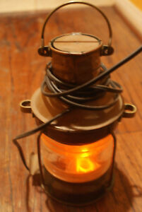 Antique Copper Anchor Nautical Lantern Wired To Use Electric Flame Light Bulb