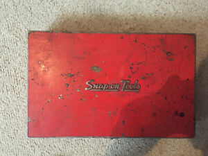 Vintage Snap on Tools Mt33b Compression Gauge Set Metal Box Diesel Engine Tester