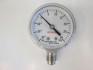 Semi Gas Systems Pressure Gauge 30 0 30 Psi 1 4 Mvcr Used