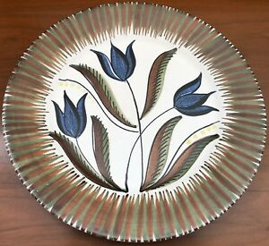 Vintage 13 Decorative Floral Hand Made Plate Norway Mid Century Modern Ceramic