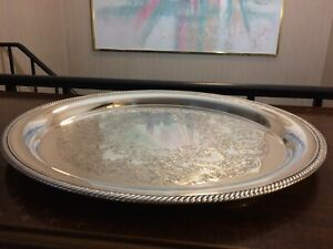 14 Vintage International Silver Co Plate Circular Serving Tray Floral Pattern
