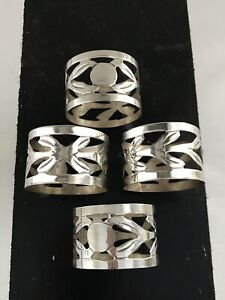 Qty 4 Vintage Maricela Tasco Sterling Silver 925 Napkin Rings Mexico Cut Out