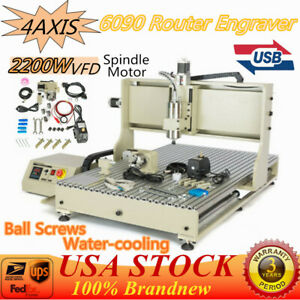 Usb 4axis Cnc 6090 Router Engraver Engraving Milling Drill Carving Machine 2200w