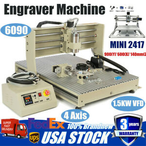 Usb 4 Axis Cnc 6090 Router Engraver Milling Machine 1500w Mini 2417 Remote