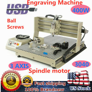 3040 Cnc Router Engraver 3axis Engraving Drilling Mill Machine 400w 3d Cutter Us
