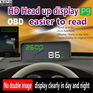 P9 3 6 Smart Digital Car Hud Hd Head Up Display Obdii Obd2 Speed Warning Meter