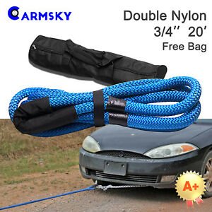 Blue Nylon 3 4 x20 Double Braid Rope 30000 Ibs Anchor Lines Fit Jeep Suv Atv
