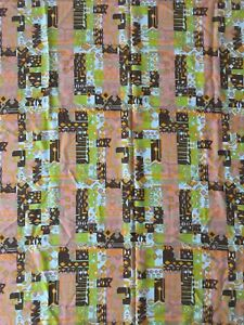 Fun Vintage 60s 70s Abstract Textile Material Fabric Retro Mid Century Modern