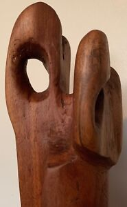 Tall Vintage Hand Carved Abstract Cypress Wood Sculpture Mid Century Modern