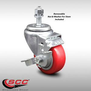 Ss Poly Swvl Threaded Stem Caster W 3 5 Red Wheel And 1 2 Stem