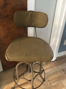 Vintage Toledo Drafting Stool Vinyl Seat Cover Cushion Pad Only Read As Is