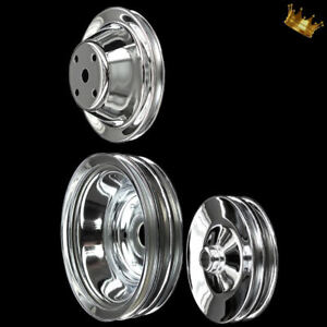 3 Pulley Set For Sb Chevy Long Water Pump With Press On Power Steering Chrome