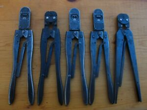 Amp Hand Crimp Pliers Tool Crimper Ratcheting Lot Of 5 90015 69524 Etc