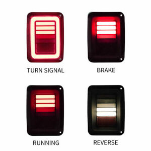 Led Tail Lights Brake Turn Signal Reverse Smoked For Jeep Wrangler Jk 07 17