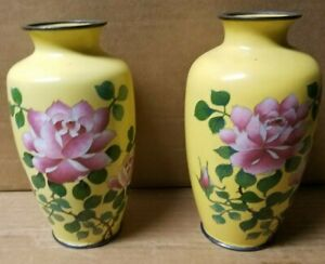 Pair Of Japanese Yellow Silver Rim Cloisonne Vases