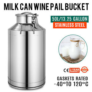50l Stainless Steel Milk Can Wine Pail Boiler Tote Jug Lid 13 25 Gallon