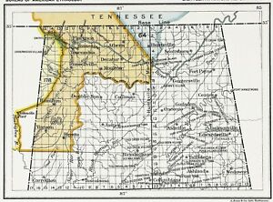 1899 Alabama Map Decatur Huntsville Native American Ceded Territories Original