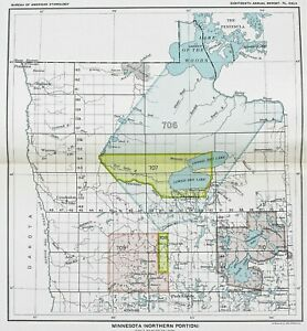 1899 Minnesota Map Lake Of The Woods Indians Native American Ceded Territory