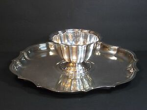 International Silver Co Chippendale Set Scalloped Serving Tray 13 W Sauce Bowl