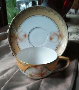R S Germany Porcelain Butterscotch Demitasse Cup Saucer White Rose Gold Trim