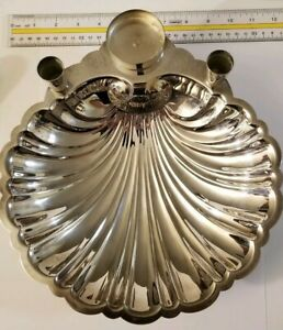 Vintage English Silver Shell Mfg Corp Silver Plated Platter 11 In Collectible
