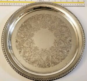 Antique Wm Rogers 1800s Silver Plated Platter Intricate Carvings 12in Collect