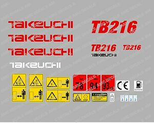 Takeuchi Tb216 Mini Digger Decal Sticker Set With Safety Warning Signs