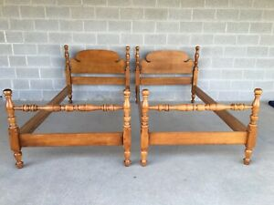 Vintage Solid Maple Cannonball Style Twin Poster Beds A Pair
