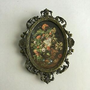 Vintage Ornate Oval Brass Picture Frame Flowers Made In Italy 7 X5 Mid Centuy