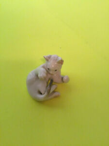 Vintage German Rosenthal White Kitten Cat Curled Up Figurine