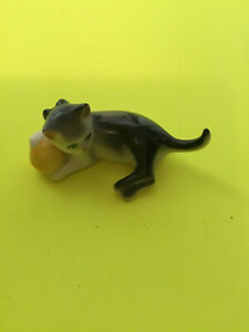 Vintage Limoges France Kitten Cat With Ball Figurine