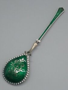 Antique David Andersen Sterling Silver Guilloche Gold Enamel Spoon 925 S Norway