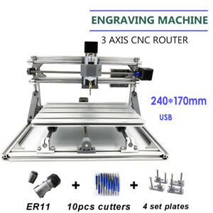 3 Axis 2417 Cnc Mini Engraving Milling Router Wood Carving Marking Machine 60w