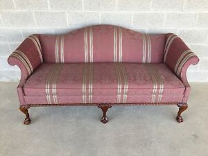 Hickory Chair Ball Claw Chippendale Style Camel Back Sofa 76