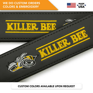 Car Seat Belt Covers Leather Shoulder Pads Dodge Killer Bee Embroidery 2 Pcs