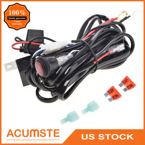 10ft Led Work Driving Fog Light Bar Wiring Harness Kit 40a 12v Switch Relay Fuse