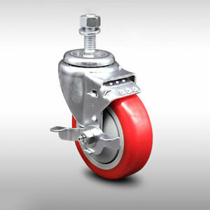 Ss Poly Swvl Threaded Stem Caster W 4 Red Wheel And 1 2 Stem top Lock Brake