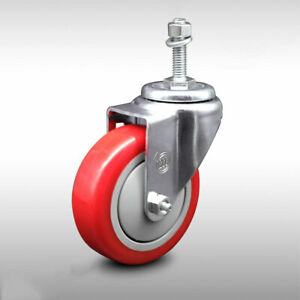 Ss Poly Swvl Threaded Stem Caster W 4 Red Wheel And 3 8 Stem 300 Lbs caster