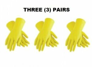 3 Pair 12 Yellow Flocklined Latex Hazmat Safety Gloves Cleaning Washing