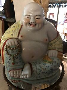 Superb Antique Chinese Famille Rose Colors Enameled Porcelain Buddha Statue