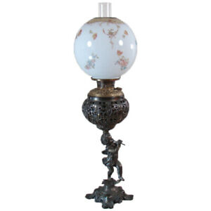 Bradley Hubbard Banquet Lamp With Lion Heads And Puti Blowing Fife 1880 S