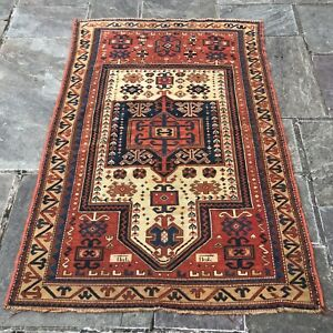 Antique Fachralo Kazak Prayer Rug Super Fine Caucasian Collectible 3 8 X 5 5