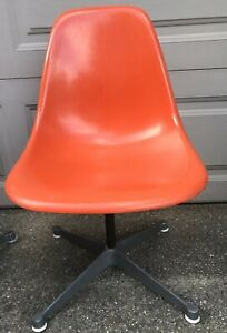 Mcm Vntg Eames For Herman Miller Fiberglass Orange Shell Side Chair Swivel Base