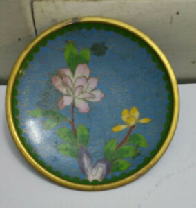 Vintage Chinese Cloisonne Green Small Flower Plate 4