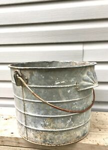 Vtg Primitive Farm Antique Galvanized Metal Bucket Pail W Side Pour Handle