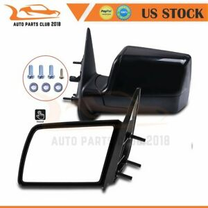 For 88 98 Gmc Chevy Pickup Truck Lh rh Side Non fold Manual Black Mirrors